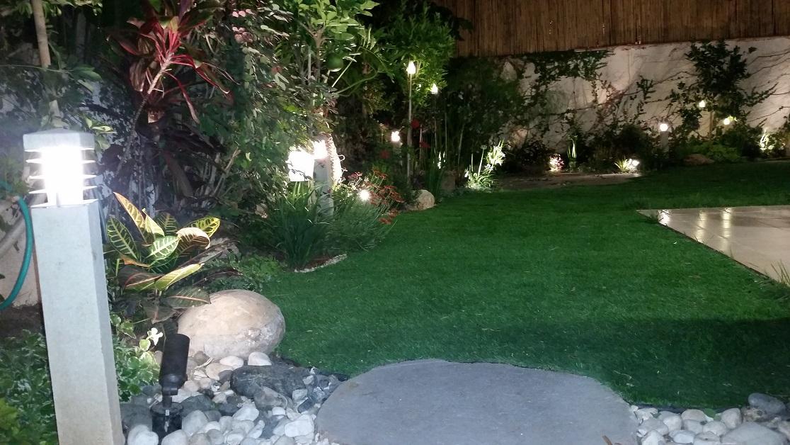 דשא בסגנון גנני טבעי שמתחבר ונחתך לפי אלמנטים חופפים איתו