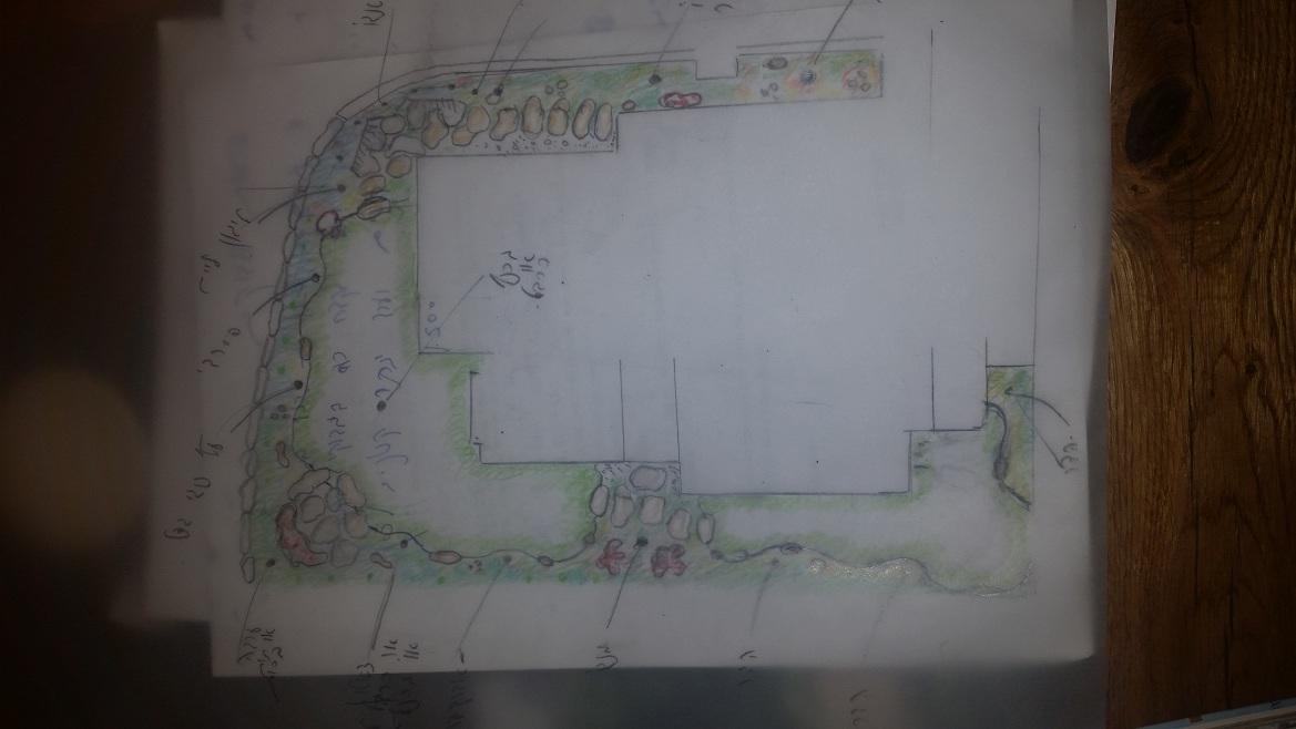 תכנון גינה בתל אביב עם שתי מדשאות נפרדות ואבני מדרך גדולות ומזמינות מקשרות דשא סינתטי פרקטי ויחד עם זה בעל קוים מעוצבים ועטיפה מעוצבת