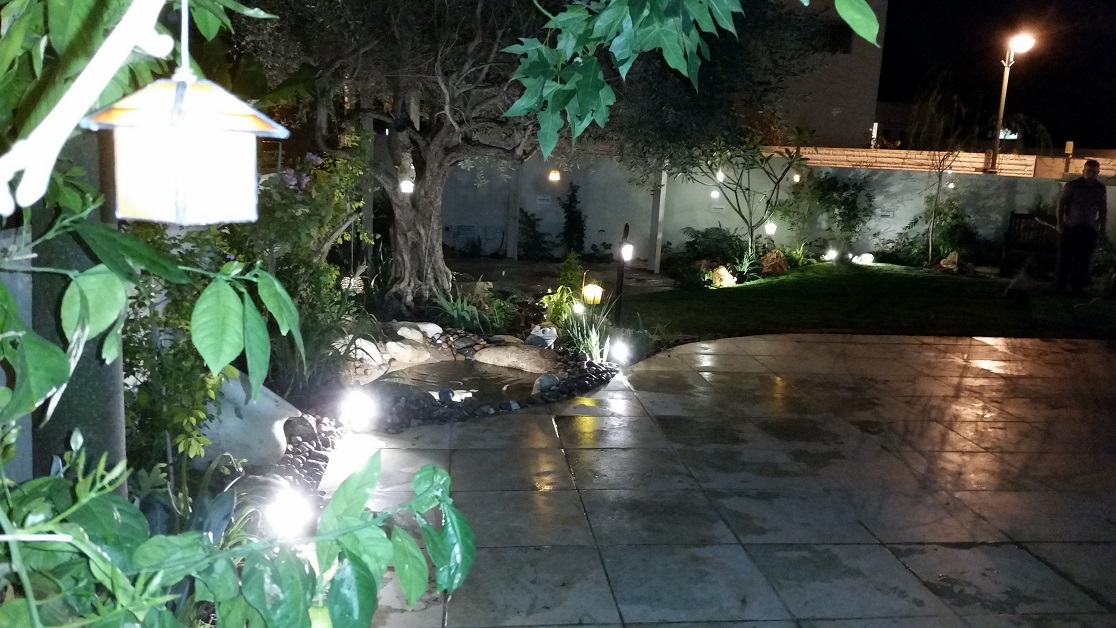 מבט ערב לכיוון הכניסה לגינה