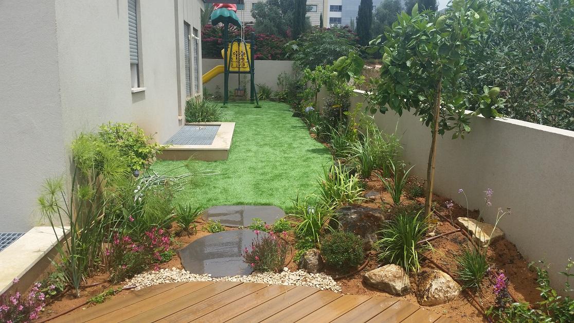 שילוב דק דשא צמחים ונוף