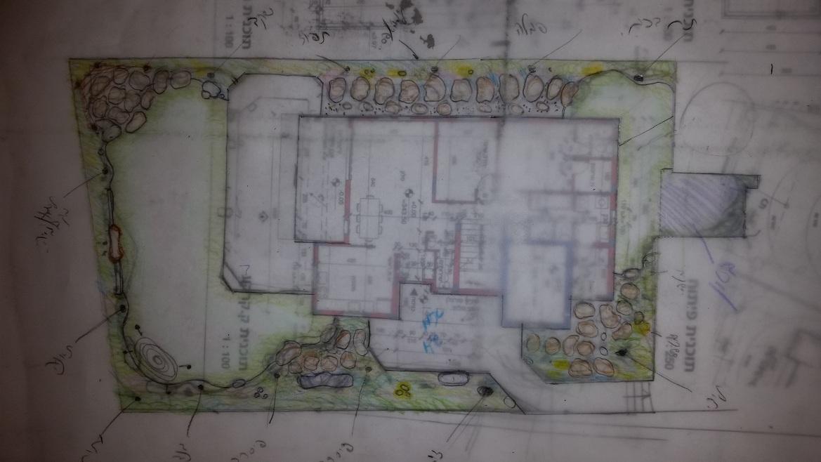 תכנון גינה פרטית גדולה בלשם  התכנון הוא לפי ובהתאם לשיפוץ הבית העתידי