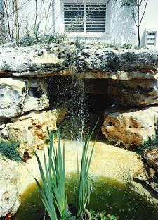 מפל מים אל הברכה העליונה של המסלעה