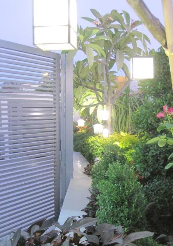 מעבר ברעננה עם המון תאורה וצמחים שונים בחזרות עם קצב