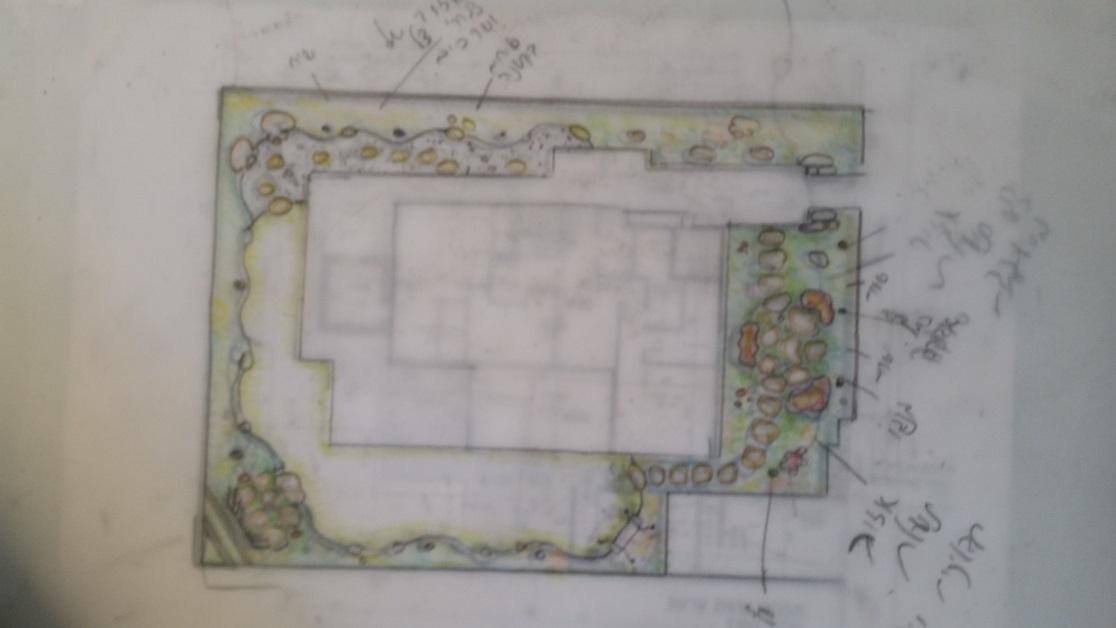סקיצת תכנון גינה שנעשתה בפגישה הראשונה מול עיני הלקוח