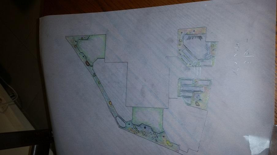 """תכנון גינות בחדרה גינה זו בעלת קווים ישרים קטומים ללא 90 מעלות בכדי ליצור מעברים מזמינים שילוב בטון מוטבע עם חברת """"חותם"""""""