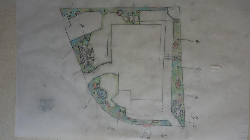 """תכנון גינה במגרש של חצי דונם בצלפון המשטחים המרוצפים מיועדים לעבודות בטון מוטבעבשילוב פעולה עם חברת """"חותם"""""""