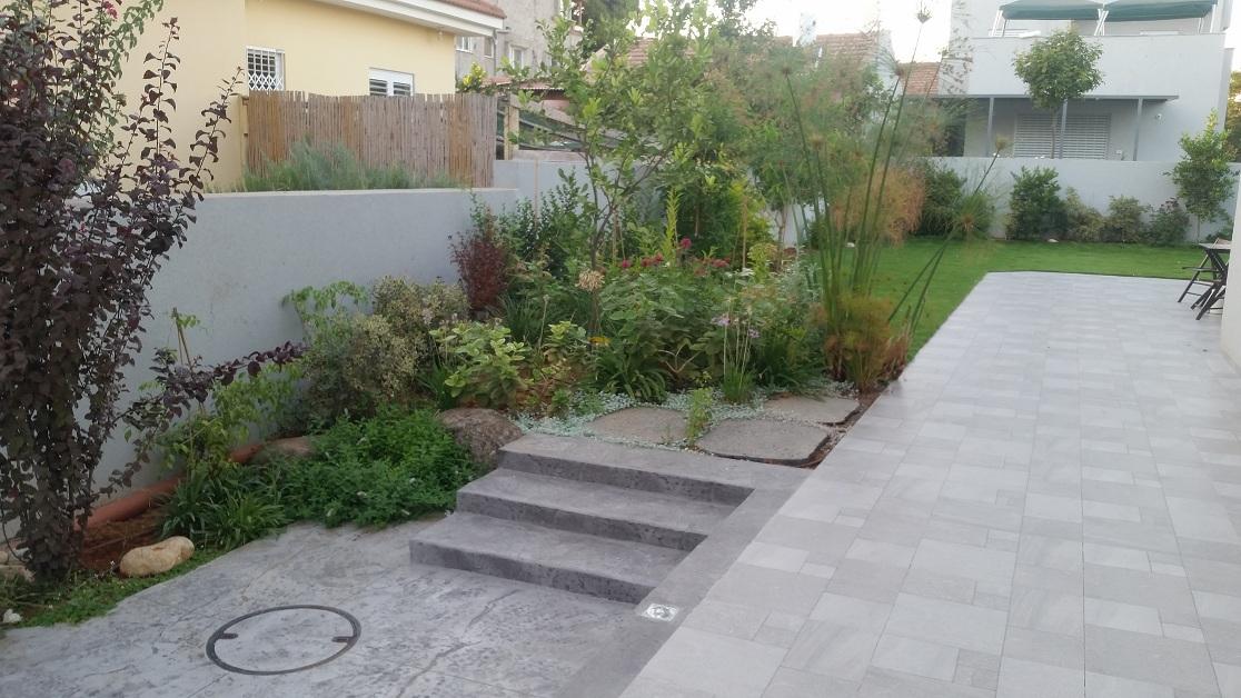 גינה עוטפת דשא גדול בטון מוטבע בגימור דמוי סלע